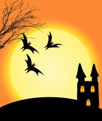 Halloween on orange background