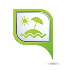 Beach icon on map pointer, vector illustration