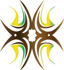 Editable illustration of an ornate tribal wide tattoo