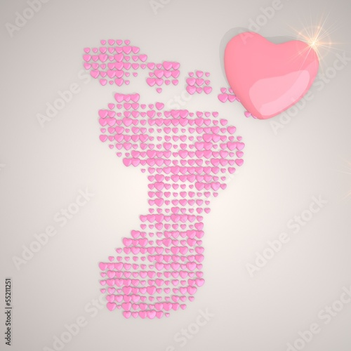 Illustration of a tender footprint symbol made of many hearts