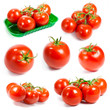 Fresh tomatoes set. Tomatoes on white background.