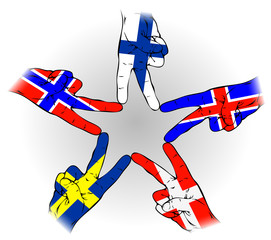 Peace Sign of Scandinavian flags