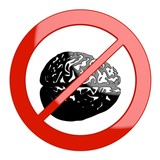 3d graphic of a restricted brain sign not allowed