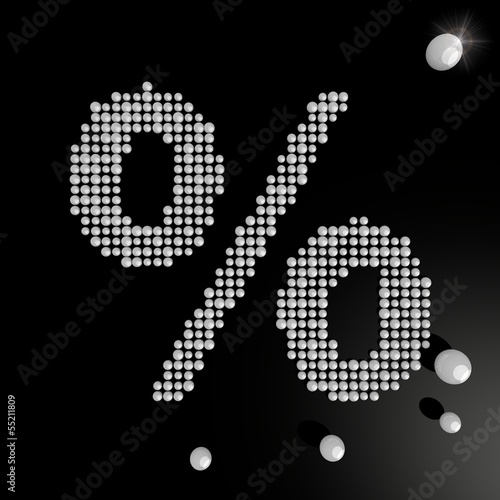 Illustration of a posh percent symbol made of many spheres