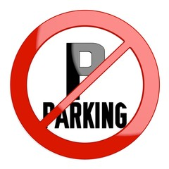 Illustration of a isolated parking sign not allowed
