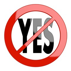Illustration of a restricted yes sign not allowed