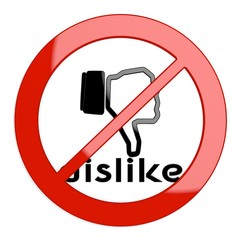 Illustration of a restricted dislike sign not allowed