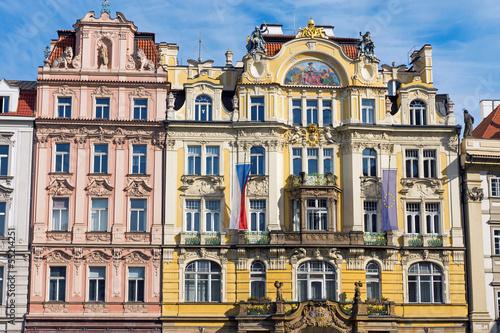 Restored historic buildings seen in Prague