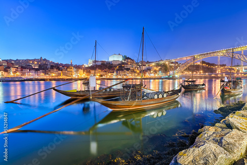 Traditional port wine transport boats in Porto, Portugal