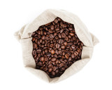 sack bag full of roated coffee beans