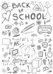 Back to school, doodle school symbols isolated on white