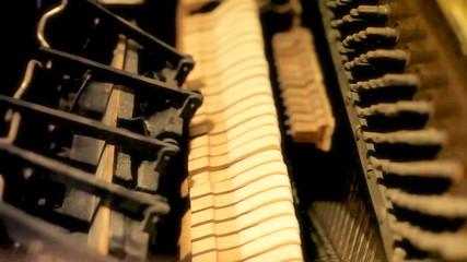 Piano inner mechanism close up