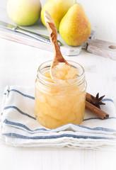 Homemade pear jam in jar
