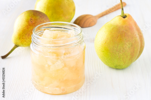 Homemade pear jam in jar