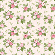 Vector seamless pattern with pink rose buds and leaves.