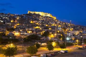Mardin in the night, small town near Diyarbakir in Turkey