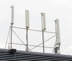 Four cellular towers on the roof