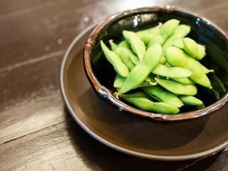 Cooked Green Organic Edamame with sea salt