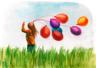 girl running with ballons