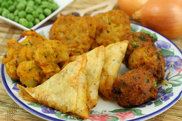 Selection of Indian vegetarian snacks