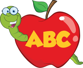 Happy Worm In Red Apple With Glasses And Leter ABC