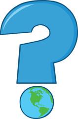 Cartoon Blue Question Mark With World Globe