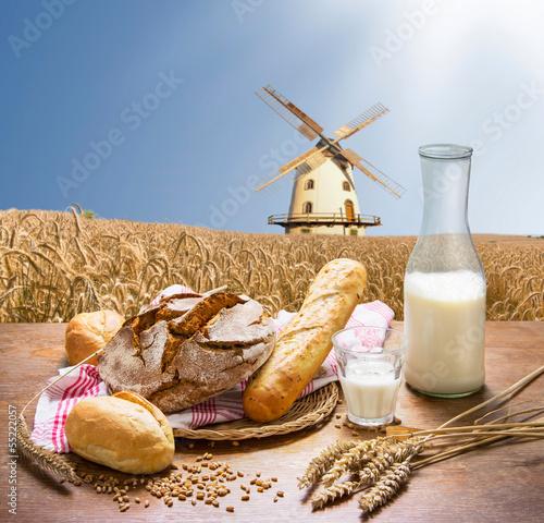 Fototapeta frische Backwaren vor einem Getreidefeld mit Windmühle