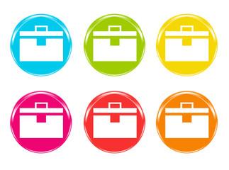 Iconos de colores con símbolo de maletines