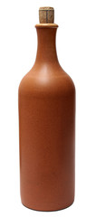 Earthen bottle of wine isolated on a white background.