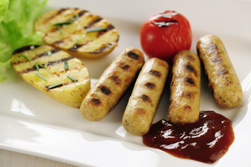 Grilled Tofu sausage and potatoes with ketch-up