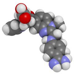 Dabigatran anticoagulant drug, chemical structure.
