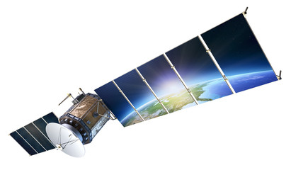 Satellite communications with earth reflecting in solar panels i