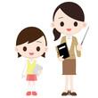 小学生と女性教師