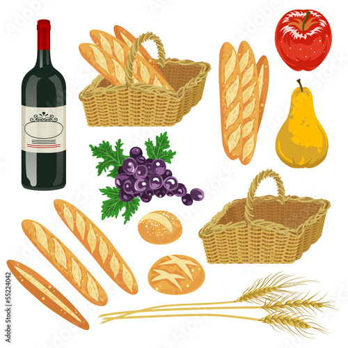 Autumn fruit and Bread,Isolated