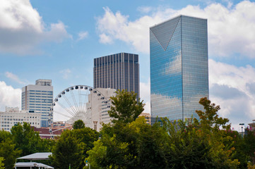 Cityscape with skyscrapers and Atlanta ferris wheel