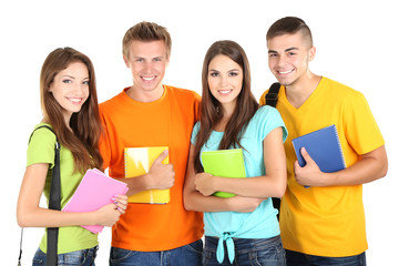 Happy group of beautiful young students, isolated on white