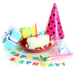 Colorful birthday cake with candle and gifts isolated on white