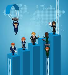 Business world map teamwork steps people.