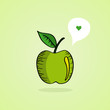 Sketch style green apple