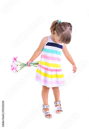 Little cute girl holding flowers, isolated on white
