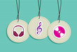 Hanging hipster music badges set