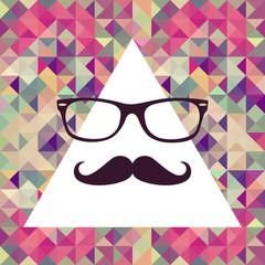 Vintage hipster face geometric pattern.