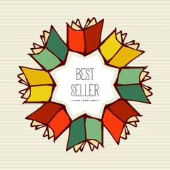 Retro best seller book flower.