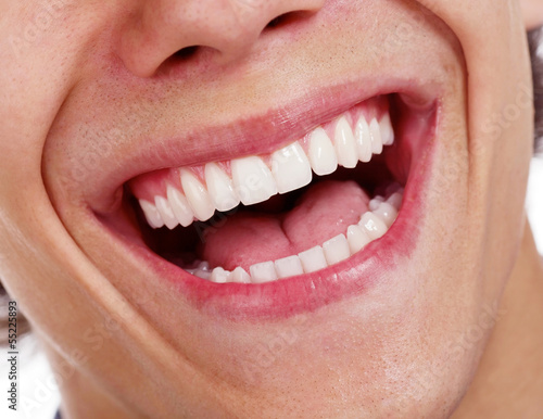 Awesome healthy teeth over white background