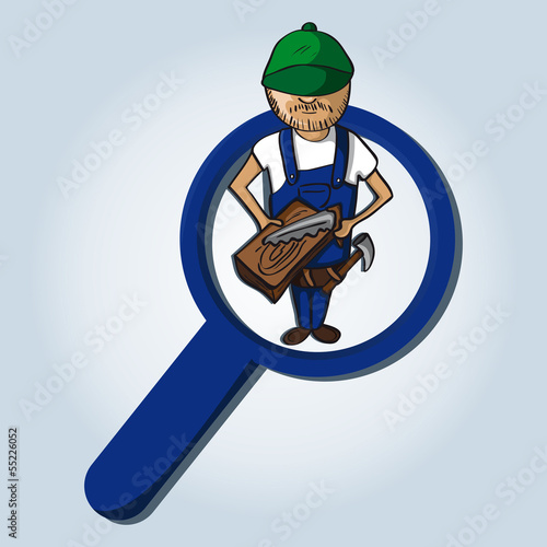 Service search wood worker boy cartoon.