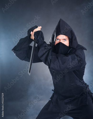 Portrait Of Male Ninja With Sword