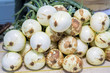 Organic onions with natural soil still on them