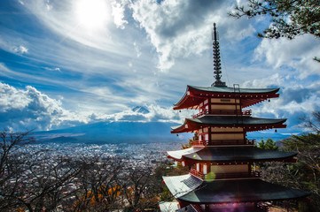 Chureito Pagoda and Mt. Fuji