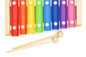 top view colorful xylophone on white with clipping path