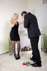 Man proposing to a beautiful woman